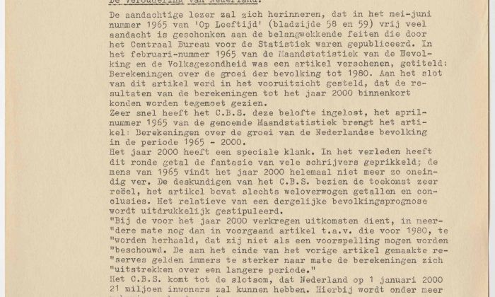 B. Krol, The Ageing of the Netherlands, Netherlands Federation for Elderly Care, 1965. Collection: Het Nieuwe Instituut, NIRO a244-1