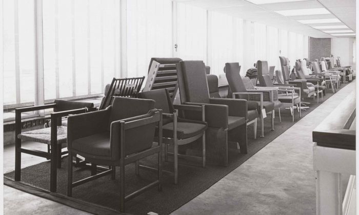Presentation of submissions for the National Competition for a Chair for the Elderly, 1968. Client: Centrale Bond van Meubelfabrikanten. Photo: Fotodienst Schipper. Collection Het Nieuwe Instituut, ODEE f52