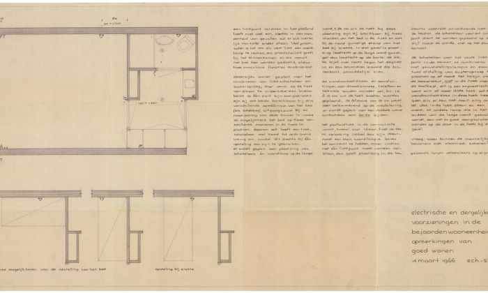 J.W.H.C. Pot and J.F. Pot-Keegstra and Stichting Goed Wonen, Indications for electrical provision in homes for the elderly, 1966. Collection: Het Nieuwe Instituut, POTK d77