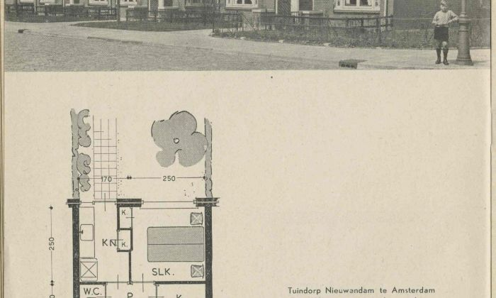J.A. Mulder jr., 'Municipal Housing for the Elderly in Nieuwendam, Amsterdam, 1937', published in: The Central Directive for Reconstruction and Public Housing, c.1948. Collection: Het Nieuwe Instituut, TIJX d39-a
